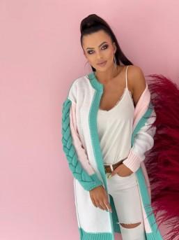 Swetr Warkocz Pastel - zdjęcie 2