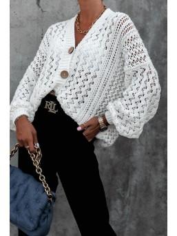 Ażurowy Sweterek Biel