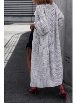 Płaszczowy Kardigan Szarość - zdjęcie 5