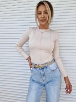 Bluzka dopasowana Guci beż - zdjęcie 6