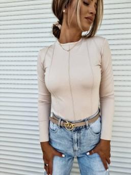 Bluzka dopasowana Guci beż - zdjęcie 9