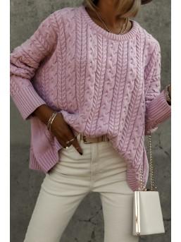 Sweter warkocz brudny róż - zdjęcie 1