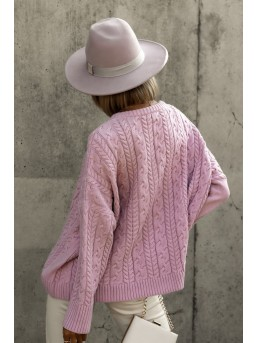 Sweter warkocz brudny róż - zdjęcie 3