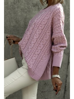 Sweter warkocz brudny róż - zdjęcie 4
