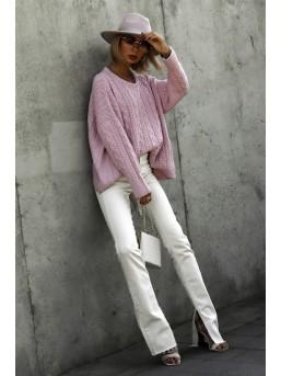 Sweter warkocz brudny róż - zdjęcie 5