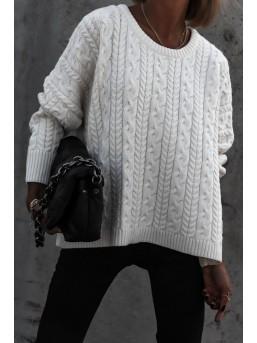 Sweter warkocz Ecru