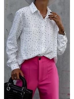 Koszula damska z kieszonką biała w kropki