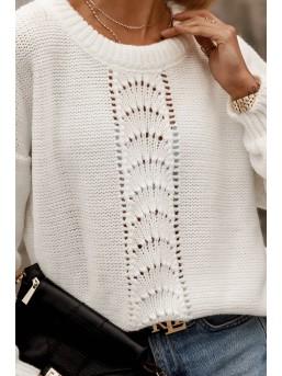 Sweterek z ażurową wstawką ecru
