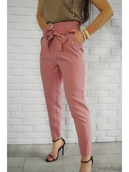 Materiałowe spodnie z kokardą high-waist pink - zdjęcie 2