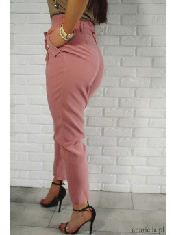 Materiałowe spodnie z kokardą high-waist pink - zdjęcie 3