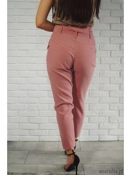 Materiałowe spodnie z kokardą high-waist pink - zdjęcie 4