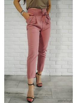 Materiałowe spodnie z kokardą high-waist pink - zdjęcie 5