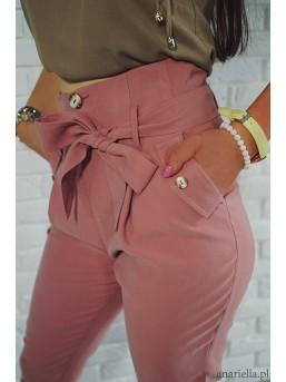 Materiałowe spodnie z kokardą high-waist pink