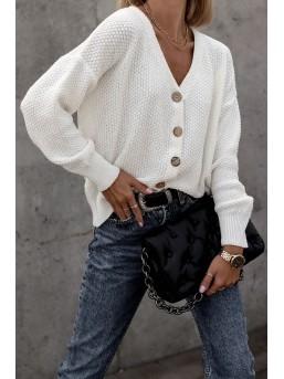 Sweter o ryżowym splocie ecru