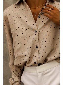 Koszula Damska Z Kieszonką Beżowa W Kropki