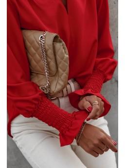 Bluzka Marszczony Mankiet Czerwień