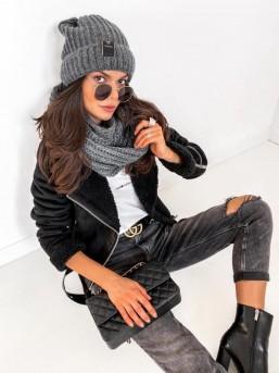 Komplet Mila czapka + szalik  Grafit