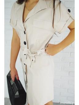 Sukienka beżowa z guzikami