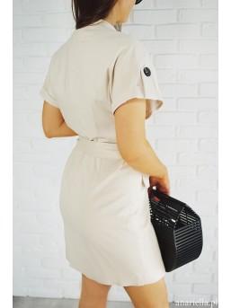 Sukienka beżowa z guzikami - zdjęcie 2