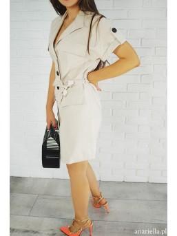 Sukienka beżowa z guzikami - zdjęcie 3