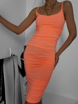 Sukienka marszczona neon orange